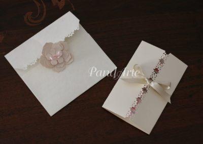Partecipazione merletto e busta fiore 3D