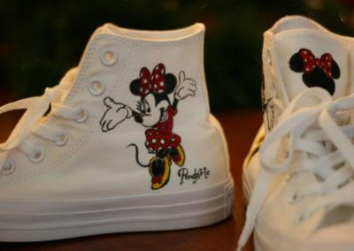 """Scarpe dipinte a mano """"Minnie vestito rosso"""""""