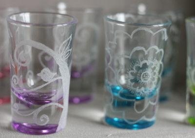 Bicchieri in vetro incisi